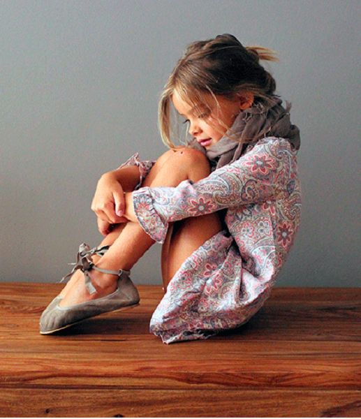 Paisley dress, taupe scarf and boho flats. #estella #kids #fashion