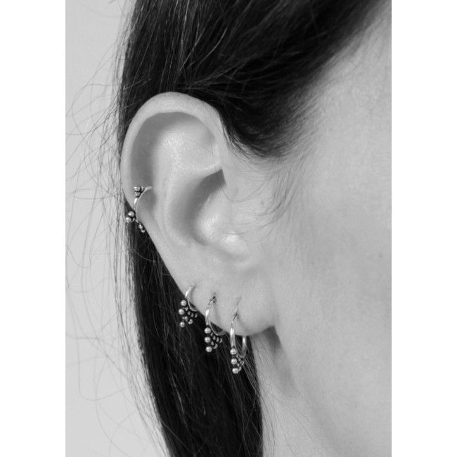 Fashionology - Fashionology Sterling Silver Three Dot Hoop Earrings 12mm