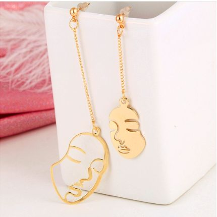 Abstract Face Long Earrings Gold Color