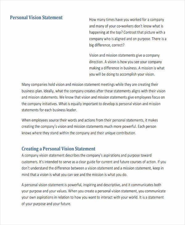 Personal Vision Statement Example Elegant Free 32 Of Work Sample In Mission Examples