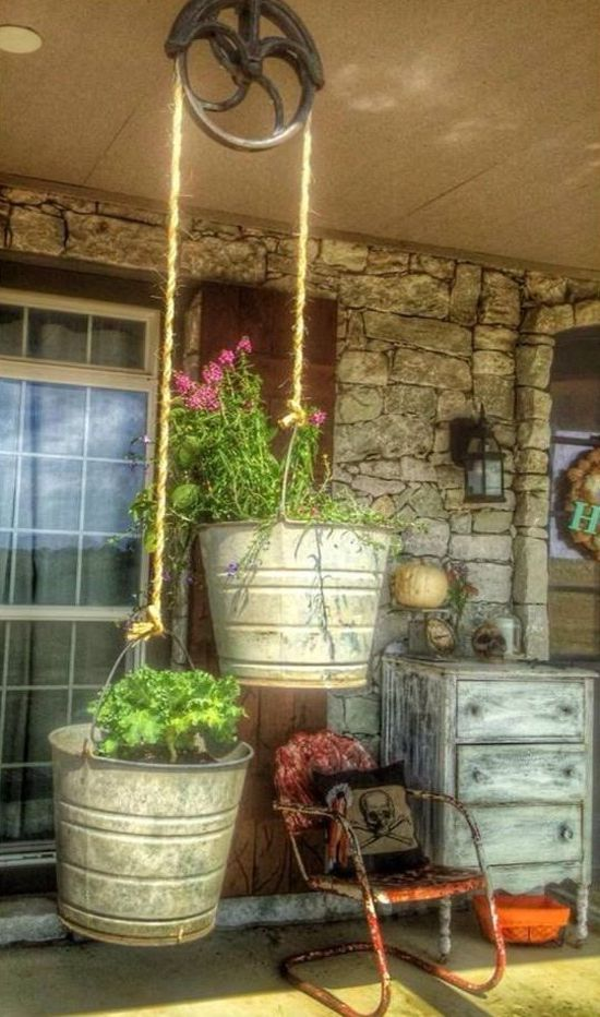 Hay Mow Pulley, Hay Rope & Buckets Makes Cute Front Porch