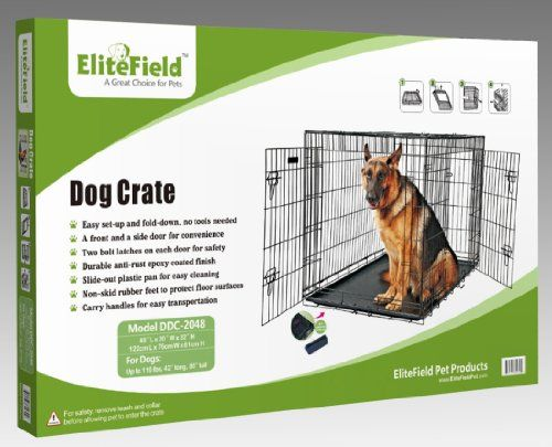 EliteField 48″ Two Door Folding Dog Crate, 48″ Long X 30″ Wide X 32″ High Size: 48″ long x 30″ wide x 32″ high; folding suitcase style crate.