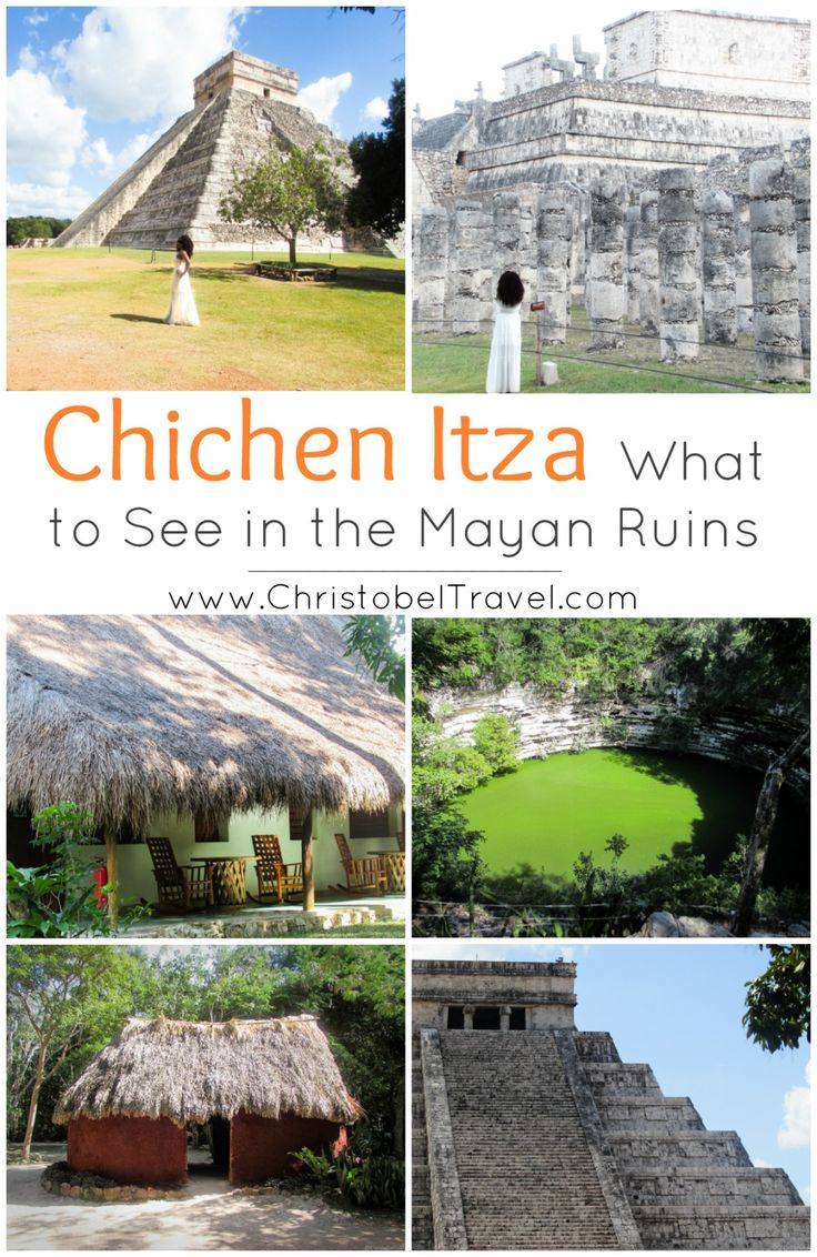 Day Trip to Chichen Itza from Cancun: Facts & What to See in this Mayan City in Yucatan, Mexico (one of the Seven Wonders of the World). Here is a guide with tips / ideas on beautiful places in the Mayan ruins: Cenote Sagrado, Ball Court, Observatorio, Kukulkan Pyramid / El Castillo - serpent like shape appears at sunset. History tours & night light show are best activities for family, friends & kids. Bloggers: Awesome travel photography / pictures. Wear simple casual outfit with flat shoes.