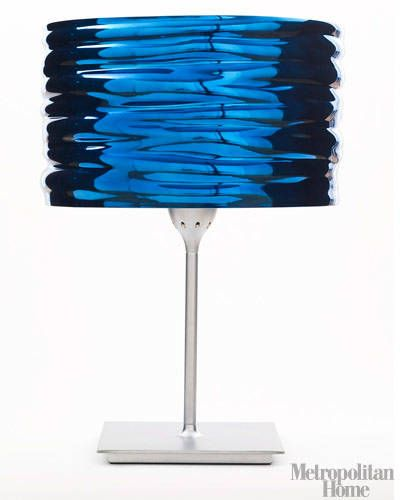 "Hydroforming, a technique appropriated from the sports-car industry, produces the visual fluidity and literal rigidity of the Aqua Cil lamp, the work of   technically avant garde designer Ross Lovegrove (12½""d x 14½""h, $890; Artemide.us).—Callie   Jenschke"