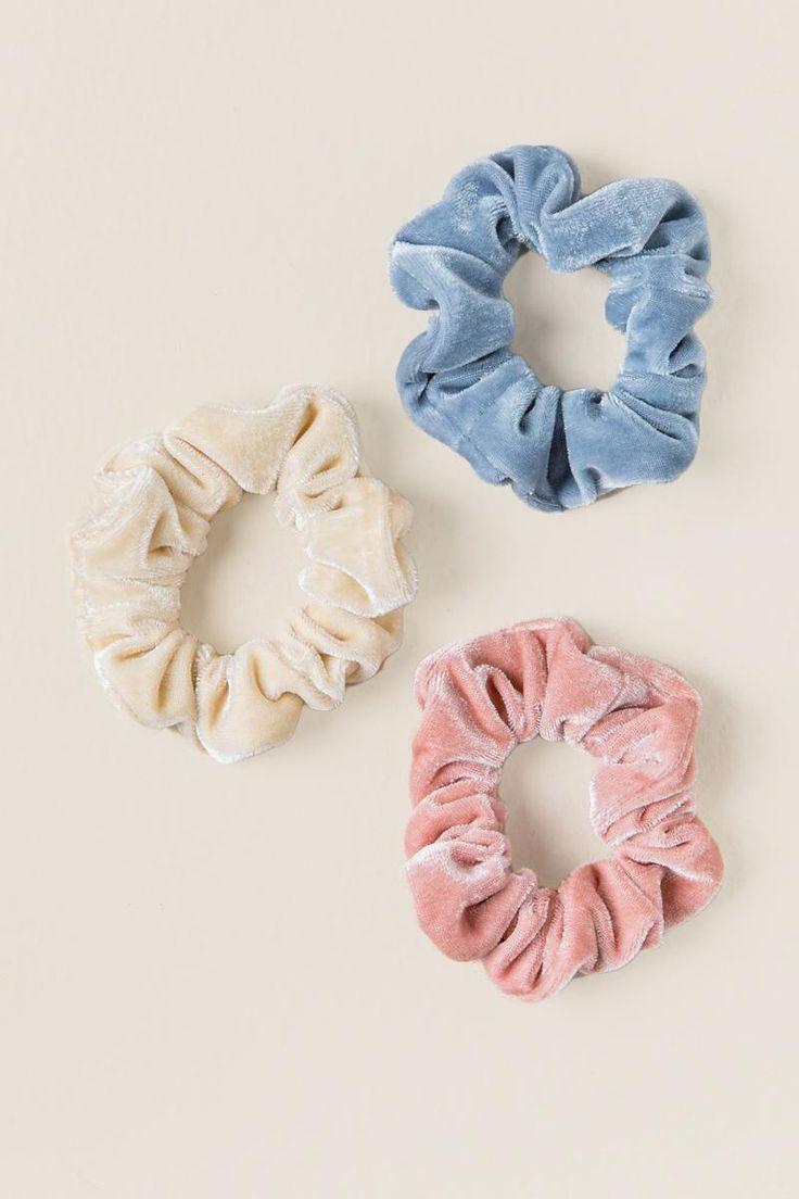 Jessie 3 Pack Velvet Scrunchie Hair Ties