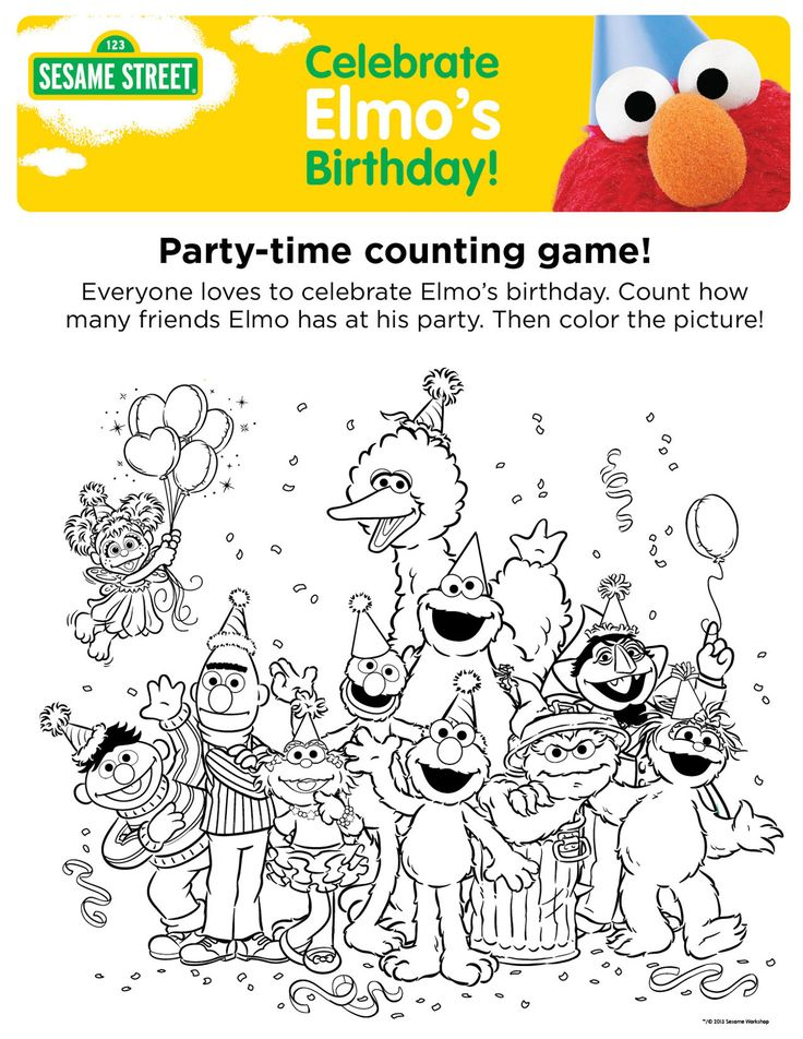 Elmos Birthday Party Time Counting Game Be Cute To Print Out One Character And