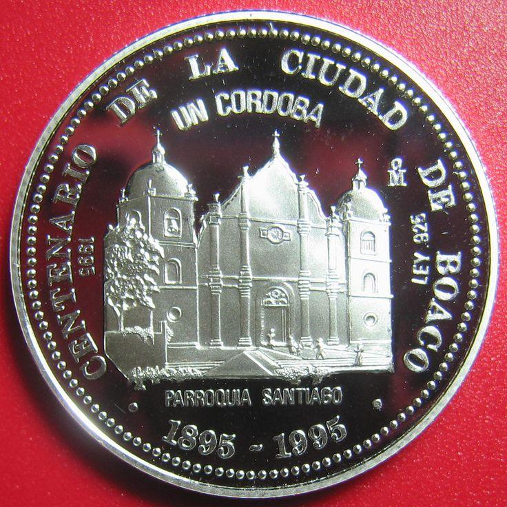 1995 NICARAGUA 1 CORDOBA SILVER PROOF SANTIAGO BOACO CATHOLIC CHURCH RARE M=1000