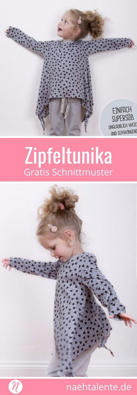 Kostenloses Schnittmuster für eine Zipfeltunika für Mädchen. PDF-Schnitt zum Drucken in Gr. 86/92, 98/104, 110/116, 122/128. ✂ Nähtalente.de - Magazin für kostenlose Schnittmuster und Hobbyschneiderinnen ✂ Free sewing pattern for a girls tunic in size 86/92, 98/104, 110/116, 122/128. PDF-sewing pattern for print at home. ✂ Nähtalente.de - Magazin for sewing and free sewing patterns ✂ #nähen #freebook #schnittmuster #gratis #nähenmachtglücklich #freesewingpattern #handmade #diy