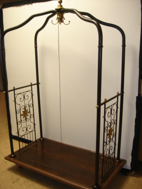 Large, wrought iron and brass, hotel luggage trolley/cart. **Available to hire** (Stock code;- TRLE10003)    www.farley.co.uk