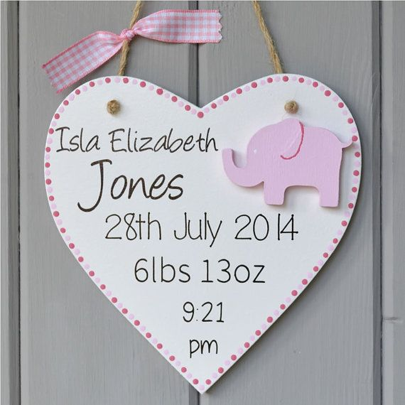 Personalised new baby plaque. Personalised baby girl gift and Keepsake, elephant decoration