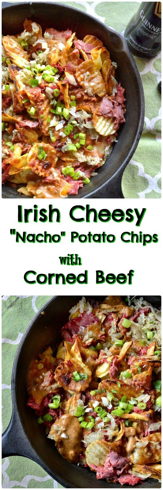 """These cheesy """"nacho style"""" potato chips, topped with corned beef and maybe sauerkraut, are perfect for St. Paddie's Day!"""