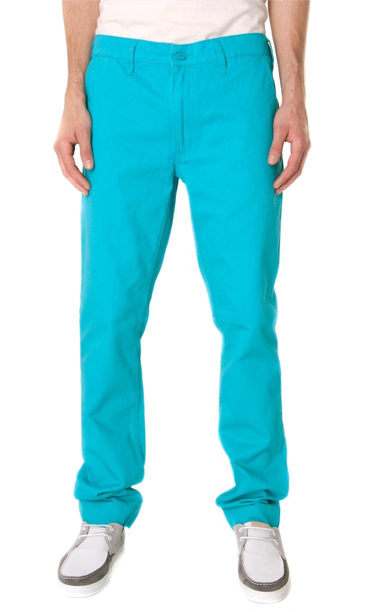 Cheap Monday slim chino turquoise pants -  ss13 #menswear  www.sansovinomoda.it