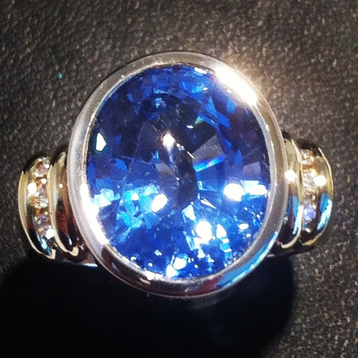 Diamond an blue topaz dress ring