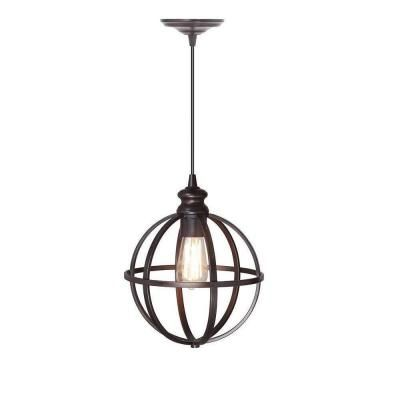 Home Decorators Collection Globe 1-Light Bronze Pendant with Hardwire-1236505280 at The Home Depot