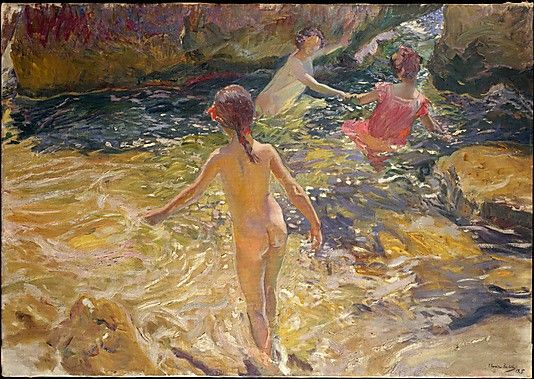 Joaquín Sorolla y Bastida (Spanish, 1863–1923). The Bath, Jávea, 1905. The Metropolitan Museum of Art, New York. Catharine Lorillard Wolfe Collection, Wolfe Fund, 1909 (09.71.2) | The seacoast town of Jávea, south of Valencia, provided Sorolla with the subjects for many of his paintings. Some of the most popular were scenes of children swimming.