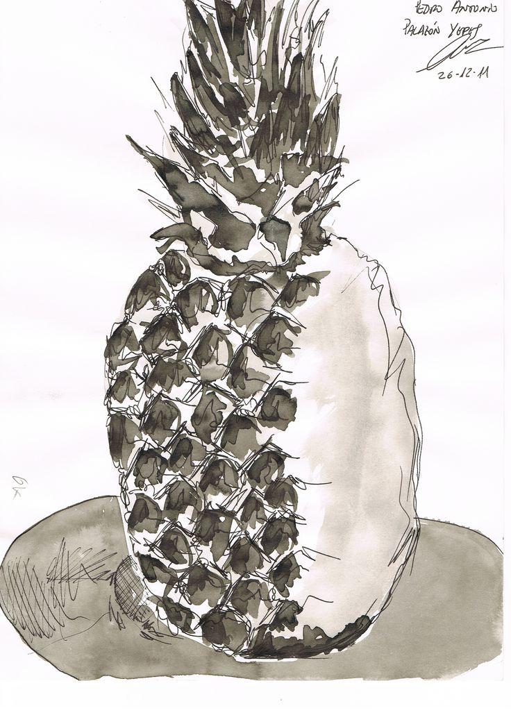 Dibujo tecnica mixta, tinta china (aguada) y tinta estilografo. Autor Pedro Palazon Yepes.