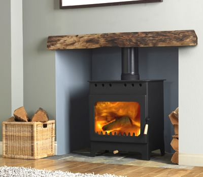 Wood burner in grey room with wooden mantle.