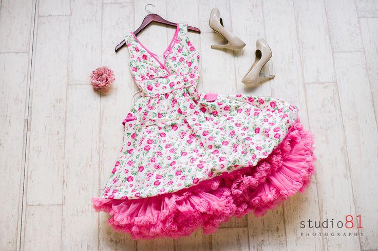 Pink Floral Dress (Size S), Pink Petticoat, White Belt (Size S), Pink Flower, Tan Heels (Size 9)