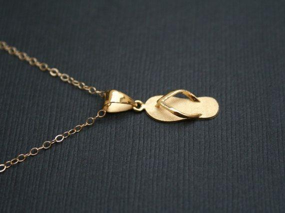Gold Flip Flop Necklace 16K Gold Filled