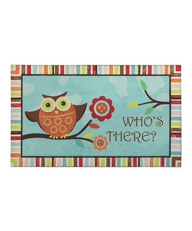 owl kitchen rugs step2 lifestyle custom ii light blue who s there doormat by mohawk home on zulily decor