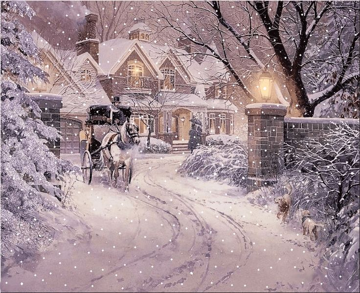 Thomas Kinkade Christmas Scene. Click to watch the snow come down. Lovely.