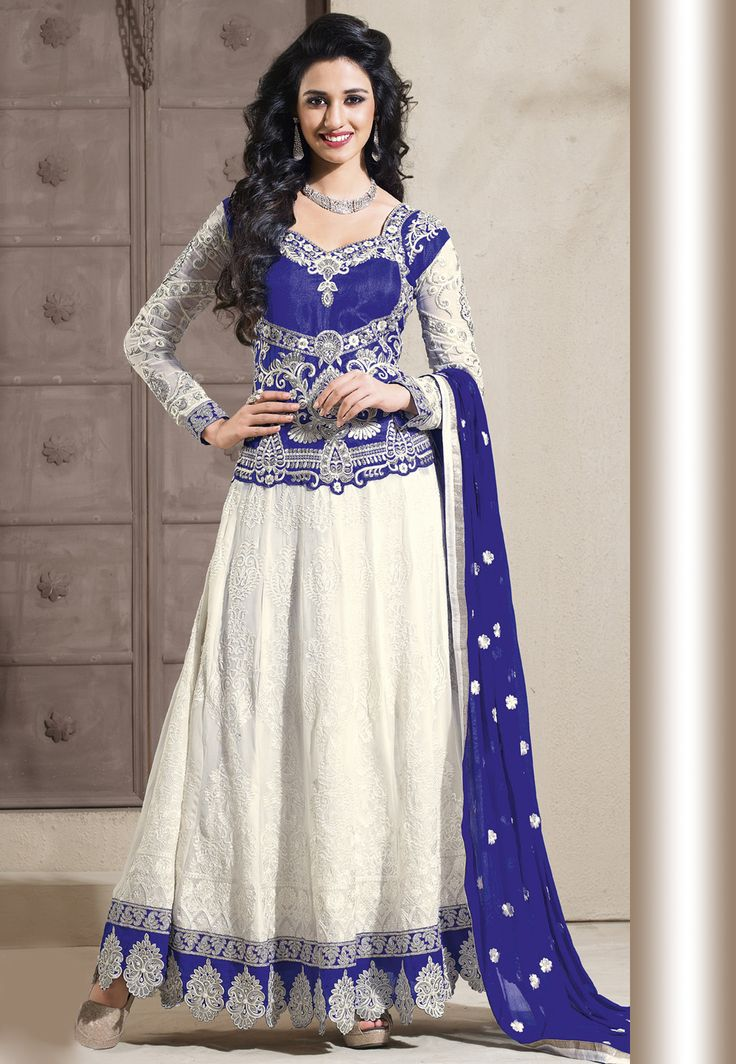 white and blue faux georgette abaya style churidar kameez best selling salwar kameez. Black Bedroom Furniture Sets. Home Design Ideas