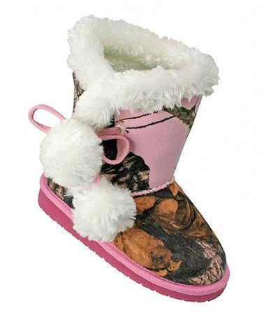 Loving this Pink Mossy Oak Camo Pom-Pom Boot - Kids on #zulily! #zulilyfinds @nikkithorsgard @downs_22