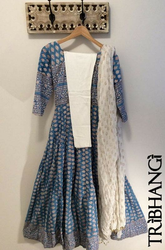 Blue Jaipur block print cotton Anokhi style anarkali by Tribhangi