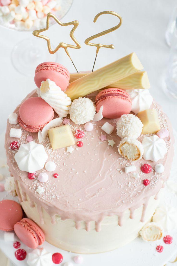 Candy Drip Cake Geburtstagstorte mit Himbeeren und Kokos   Madame Dessert