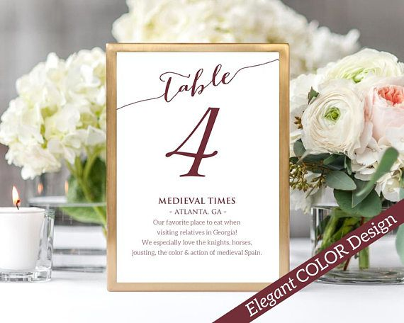 Fun Facts Table Number Card Template: Instantly download, edit and print your own table cards with room for interesting facts. This listing includes table numbers 1-40 plus Bridal & Head Table cards.
