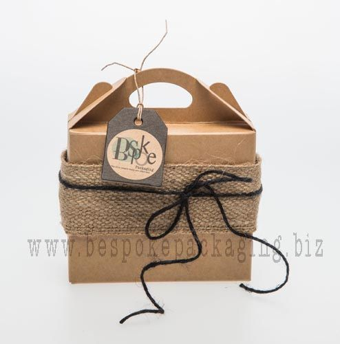Box Carry bag with Hessian webbing wrap and black jute cord.  Add a black kraft tag and our Kraft custom seals to complete the look.  All products available from www.bespokepackaging.biz