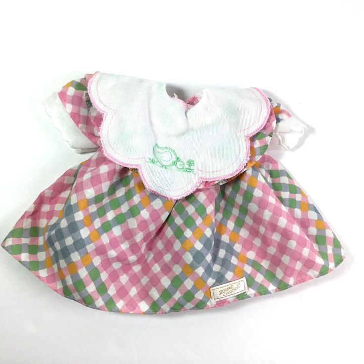 Zapf Creation Baby Doll Dress Pink Blue Gingham Plaid Embroidered Duck Collar  #ZapfCreation #DollClothing