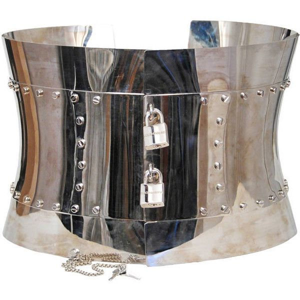 Pre-owned Dolce and Gabbana Chrome Metal Corset (11,340 BAM) ❤ liked on Polyvore featuring accessories and belts
