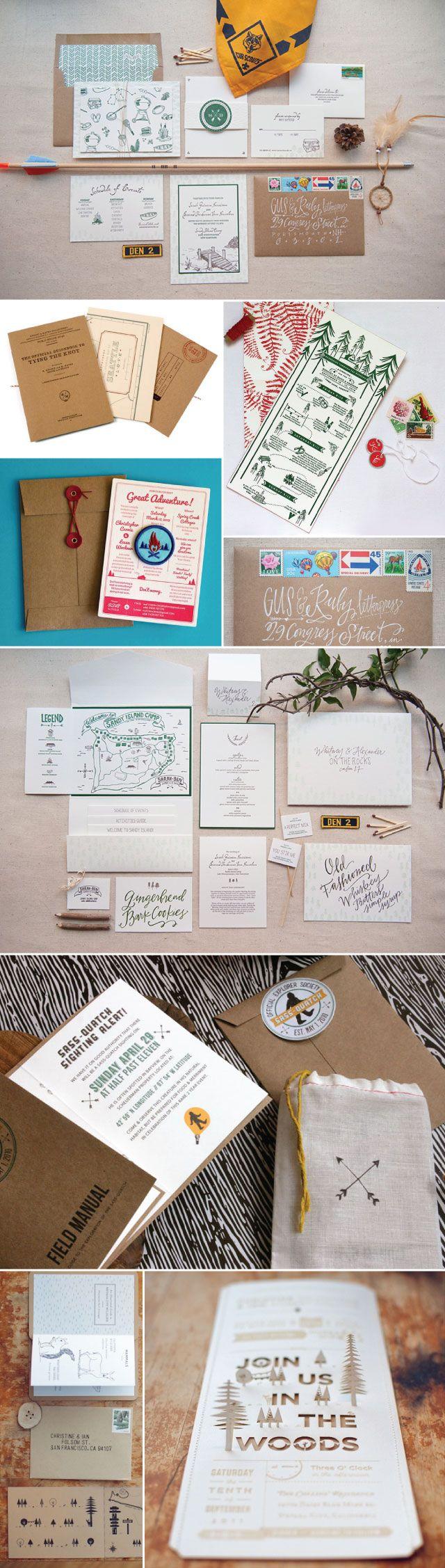 Camp Inspired Wedding Invitations   Urbanic