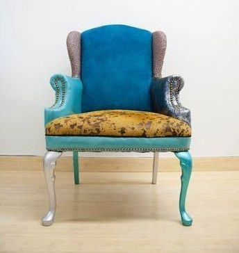 recycledFunky Chairs, Recycle Chairs, Art Designs, Chairiti Projects, Patchwork Chairs, Fabrics Chairs, Gin Art, Wingback Chairs, Scrap Fabrics