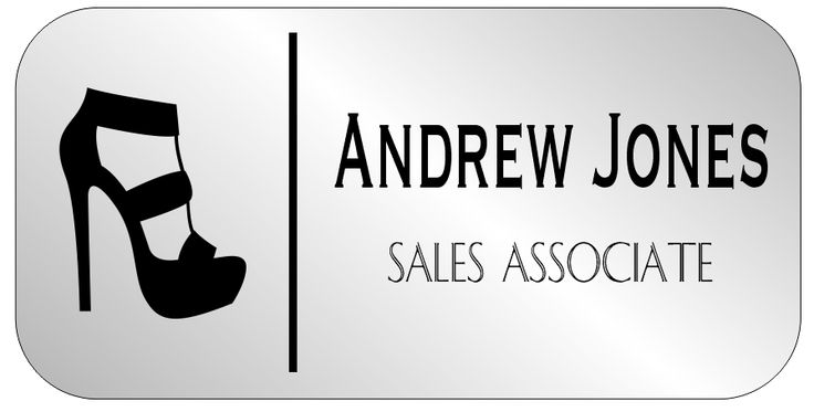 Shoe Store 2 Line Rounded Rectangle Name Tag - NameTagWizard.com