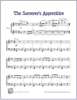 The Sorcerer's Apprentice (Dukas) | Free Sheet Music for Piano - http://makingmusicfun.net/htm/f_printit_free_printable_sheet_music/sorcerers_apprentice_piano.htm