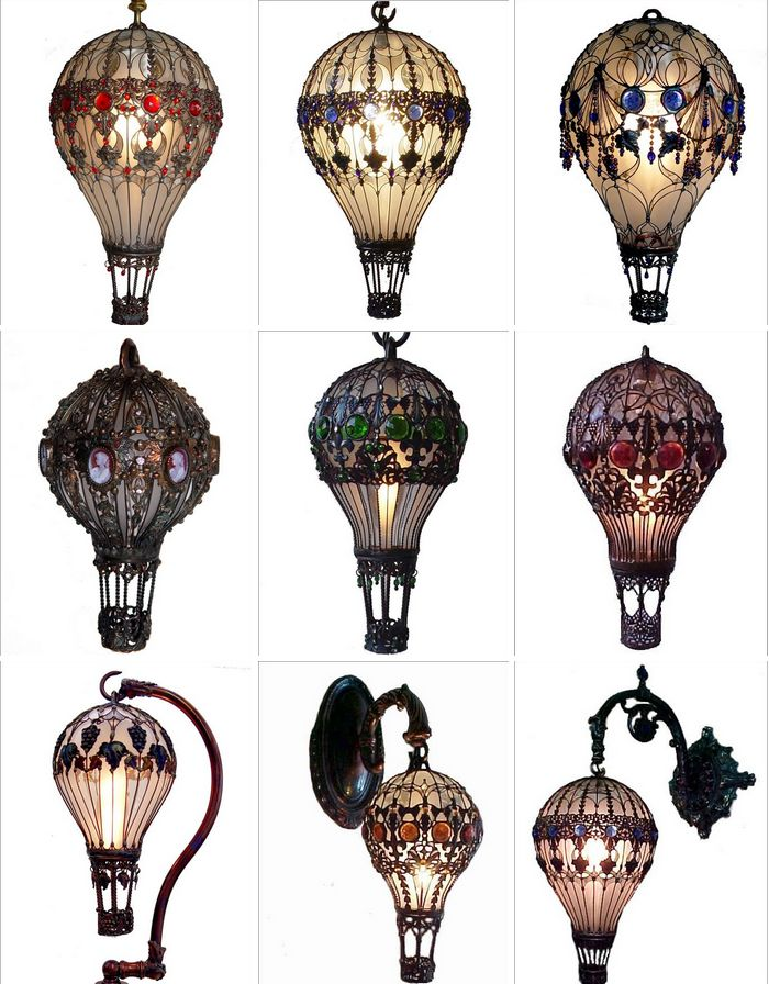Steampunk Tendencies | Baroque Hot Air Baloon Light Bulbs  New Group : Come to share, promote your art, your event, meet new people, crafters, artists, performers... https://www.facebook.com/groups/steampunktendencies - so gorgeous!