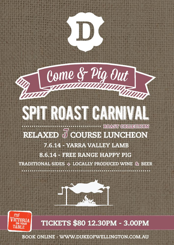 Winter is often associated with devouring a hearty roast, and what better place to do that than our Spit Roast Carnival?  Join us for a relaxed 3 course luncheon featuring a Yarra Valley lamb on Saturday and a Corowa black breed free range happy pig on Sunday, both spit roasted to perfection.   Our roasts will both be accompanied by traditional sides, think roast vegetables, house made sauce and gravy; the perfect partners for a winter roast.  Book now http://www.trybooking.com/EZHH