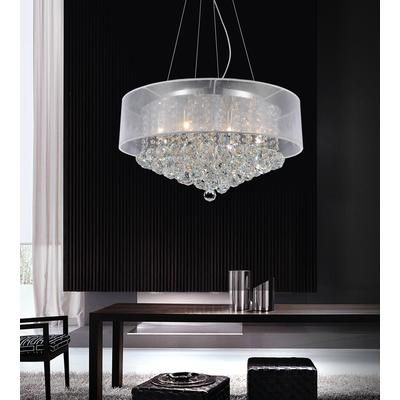 Crystal World Inc. - Round 24 Inch Pendent Chandelier with White Shade - 5062P24C (Clear + W) - Home Depot Canada $508.41