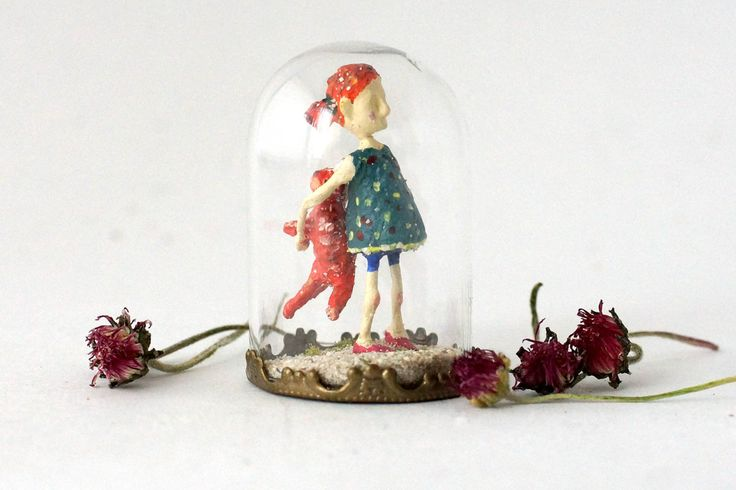 TinyLand #30~Ginger&Red~Glass Bottle,Girl,Personalised Gift,Miniature people, Handmade,Tiny people,Small bottle,Miniature doll,red cat by TinyLandme on Etsy