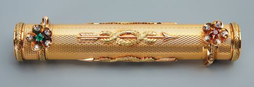 A Faberge two-colour gold double-end lipstick holder, work master Henry Wigstrom, St Petersburg circa 1910.