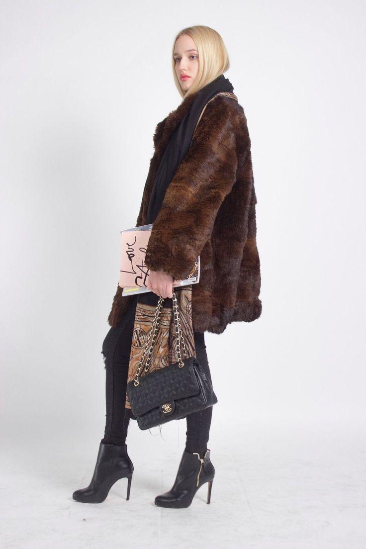 LUXURIOUS LONDON LOOK STUNNING UNIQUE VINTAGE BROWN REAL FUR COAT JACKET | eBay