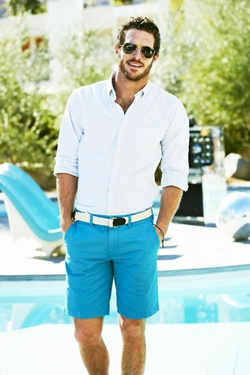 Summer men's outfit - blue shorts, white belt, white shirt and sunglasses. See the cities with the most handsome guys >>> http://bit.ly/1KmeMYs
