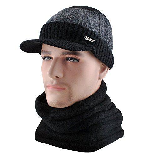 New Mens Wool Knit Visor Beanie Winter Hat Scarf Set Fleece Mask Neck Warmer.  Men Hats   12.99 - 13.99 topbrandsclothing 96f32ae4676e
