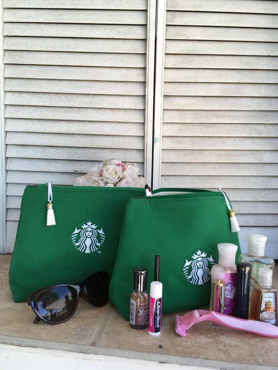 Upcycled Starbucks Apron Bag Toiletry Case by BrightSpotDecor