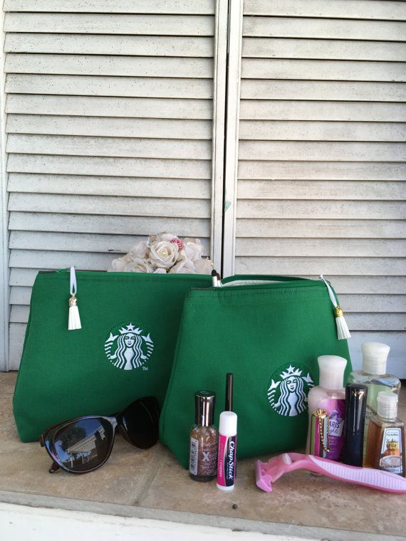 Upcycled Starbucks Apron Bag Toiletry Case by BrightSpotDecor