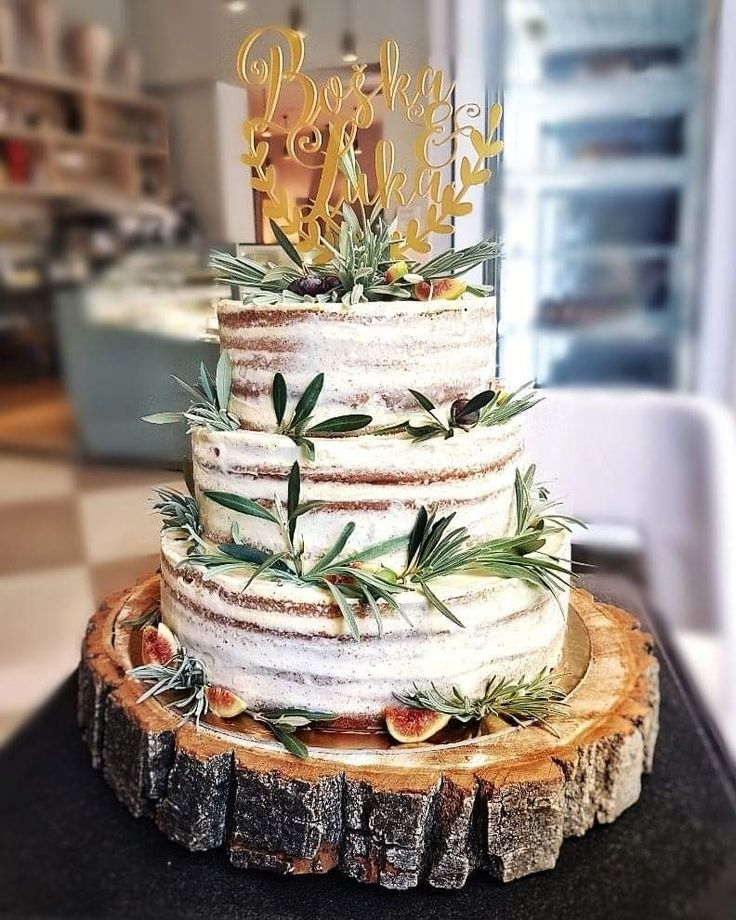 Rustic Wedding Cake with Succulents — Round Wedding Cakes