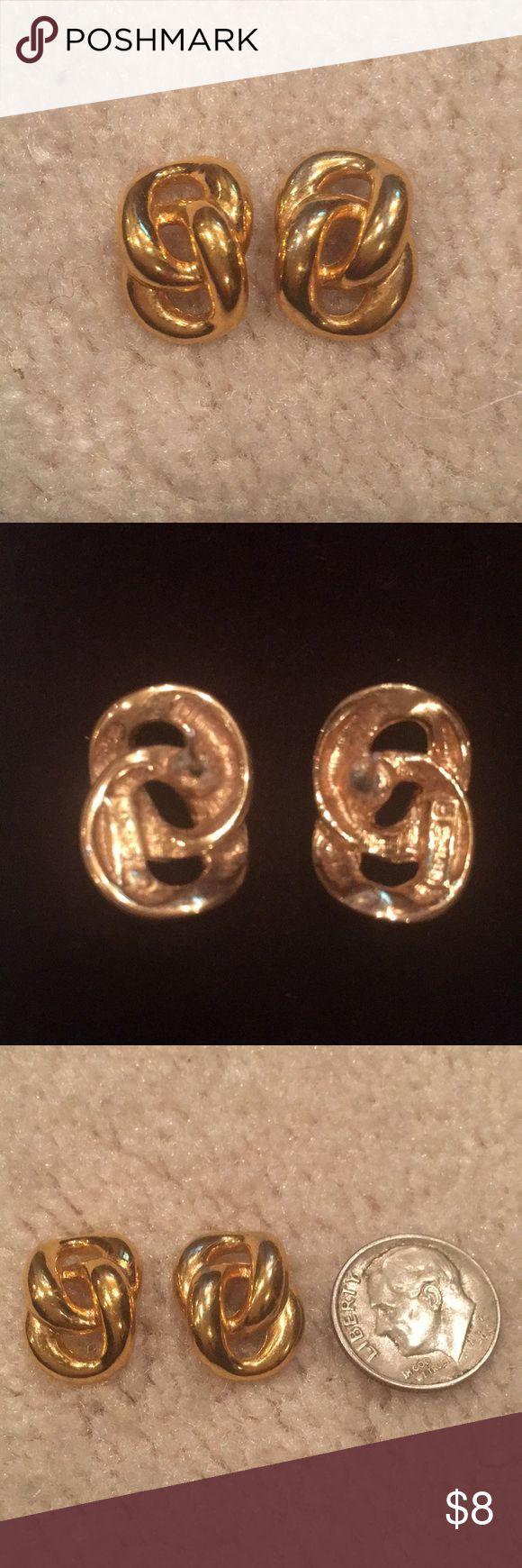 Gold pierced ears Gold double link pierced earrings Jewelry Earrings