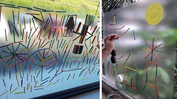 * Eerst experimenteren daarna figuren maken! Plakplastic on boeken te kaften (goedkope rol van de Hema), met de plakzijde naar je toe dmv een paar brede stukken plakband op het raam plakken.